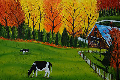 Barn Of Autumn 2 Print by Portland Art Creations