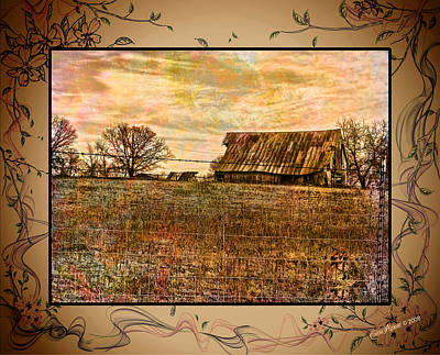 Barn On The Hill-featured In Barns Big And Small-photography And Textures Groups Print by EricaMaxine  Price