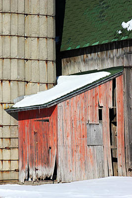 Red Barn In Winter Photograph - Barn Parts 12 by Mary Bedy