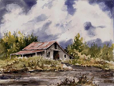Barn Under Puffy Clouds Original by Sam Sidders
