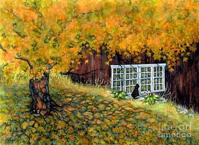 Barn Window Reflections Original by Janine Riley