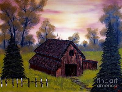Barn With An Evening Sky Print by Nature's Effects - Heather Seward