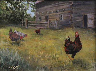 Hens And Chicks Painting - Barn Yard Boss by Bev Finger