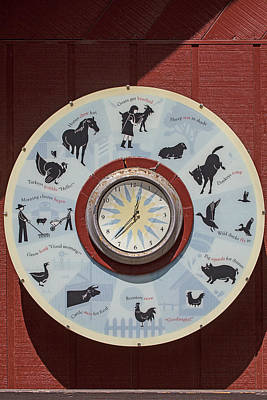 Barn Yard Clock Print by Garry Gay