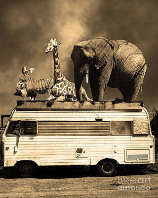 Barnum And Bailey Goes On A Road Trip 5d22705 Vertical Sepia Print by Wingsdomain Art and Photography