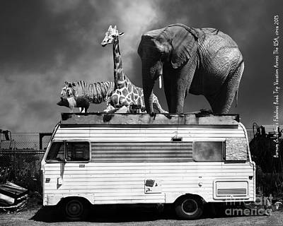Barnum And Baileys Fabulous Road Trip Vacation Across The Usa Circa 2013 22705 Black White With Text Print by Wingsdomain Art and Photography