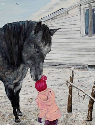 Barnyard Kiss Print by Marilyn  McNish