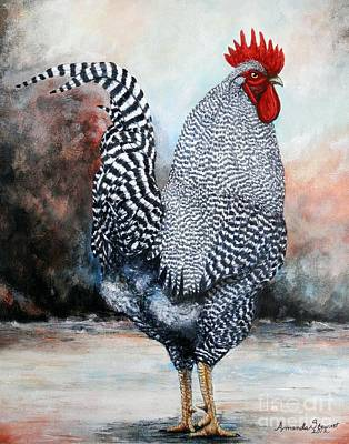Hens And Chicks Painting - Barred Rock Rooster by Amanda Hukill