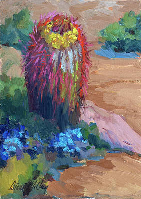 Barrel Painting - Barrel Cactus In Bloom by Diane McClary