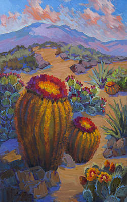 Barrel Painting - Barrel Cactus In Warm Light by Diane McClary