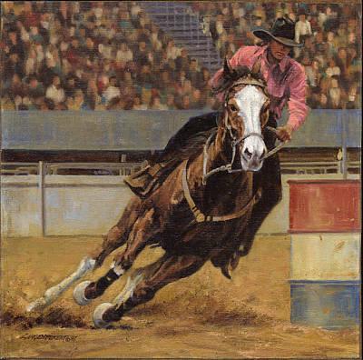 Barrel Painting - Barrel Racer by Don  Langeneckert