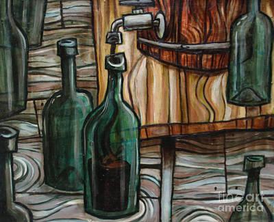 Wine Bottle Painting - Barrel To Bottle by Sean Hagan
