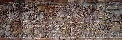 Archeology Photograph - Bas Relief Angkor Wat Cambodia by Panoramic Images
