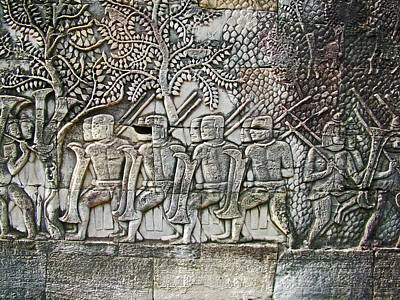 Angkor Digital Art - Bas-reliefs Of Khmer Soldiers In The Bayon Of Angkor Thom In Angkor Wat Archeological Park-cambodia by Ruth Hager