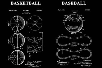 Sports Mixed Media - Baseball And Basketball Patent by Dan Sproul