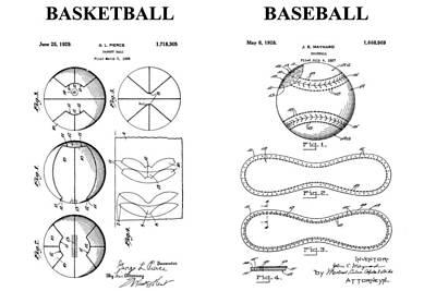Mlb Drawing - Baseball And Basketball Patent Drawing by Dan Sproul