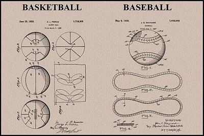 Baseball Basketball Patent Neutral Print by Dan Sproul