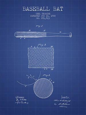 Baseball Art Drawing - Baseball Bat Patent From 1908 - Blueprint by Aged Pixel