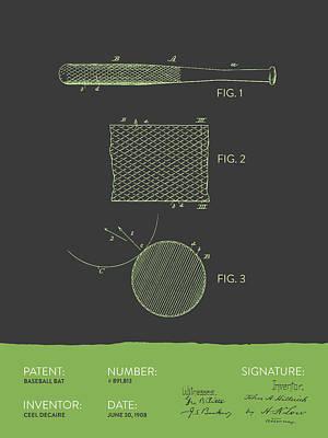 Softball Drawing - Baseball Bat Patent From 1908 - Gray Green by Aged Pixel