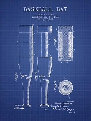 Baseball Drawing - Baseball Bat Patent From 1919 - Blueprint by Aged Pixel