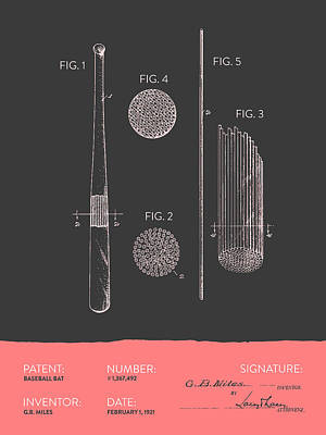 Baseball Bat Patent From 1921 - Gray Salmon Print by Aged Pixel