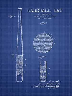 Baseball Bat Patent From 1923 - Blueprint Print by Aged Pixel