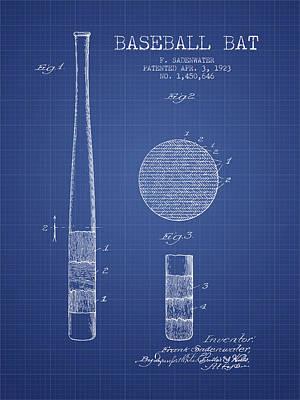 Softball Drawing - Baseball Bat Patent From 1923 - Blueprint by Aged Pixel