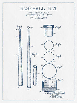 Baseball Bat Patent From 1926 - Blue Ink Print by Aged Pixel