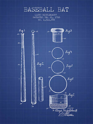 Baseball Bat Patent From 1926 - Blueprint Print by Aged Pixel