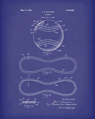 Baseball Drawing - Baseball By Maynard 1928 Patent Art Blue by Prior Art Design