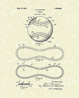 Balls Drawing - Baseball By Maynard 1928 Patent Art by Prior Art Design