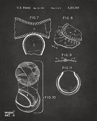 Baseball Digital Art - Baseball Construction Patent 2 - Gray by Nikki Marie Smith