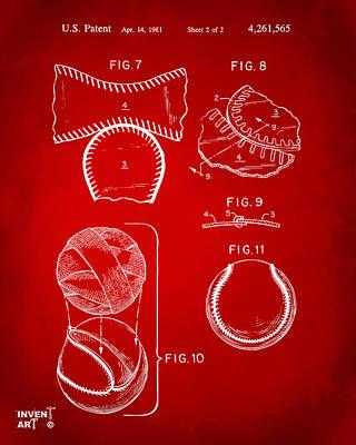 Baseball Gifts Digital Art - Baseball Construction Patent 2 - Red by Nikki Marie Smith