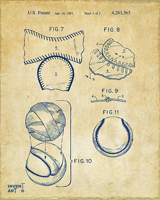 Art To Wear Drawing - Baseball Construction Patent 2 - Vintage by Nikki Marie Smith