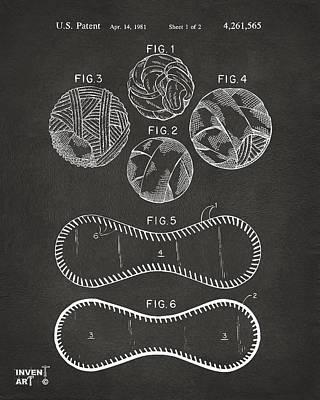 Baseball Gifts Digital Art - Baseball Construction Patent - Gray by Nikki Marie Smith