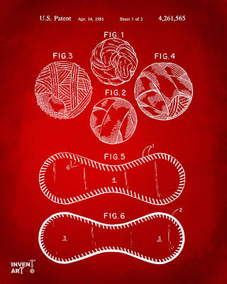 Baseball Gifts Digital Art - Baseball Construction Patent - Red by Nikki Marie Smith