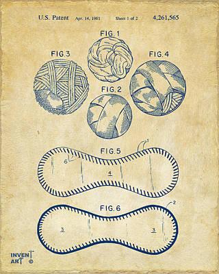 Art To Wear Digital Art - Baseball Construction Patent - Vintage by Nikki Marie Smith