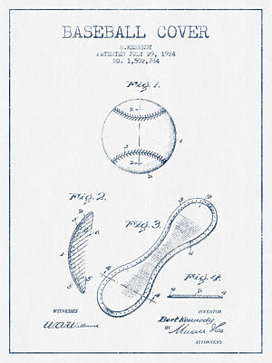 Baseball Cover Patent Drawing From 1924 - Blue Ink Print by Aged Pixel
