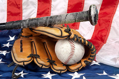 Baseball Equipment On American Flag Print by Joe Belanger