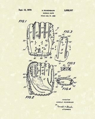 Baseball Drawing - Baseball Glove 1970 Patent Art by Prior Art Design
