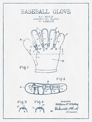 Baseball Art Drawing - Baseball Glove Patent Drawing From 1922 - Blue Ink by Aged Pixel