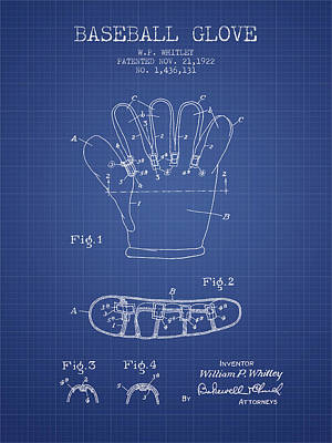 Baseball Glove Patent From 1922 - Blueprint Print by Aged Pixel