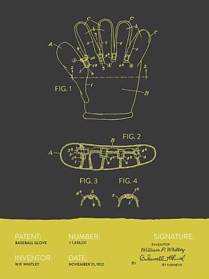 Baseball Digital Art - Baseball Glove Patent From 1922 - Gray Yellow by Aged Pixel