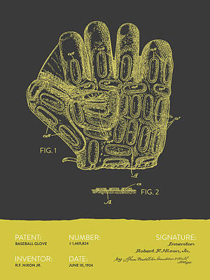 Baseball Glove Patent From 1924 - Gray Yellow Print by Aged Pixel