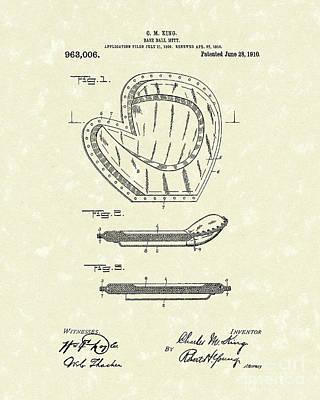 Baseball Drawings Drawing - Baseball Mitt 1910 Patent Art by Prior Art Design
