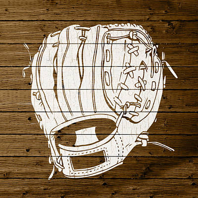 Baseball Mitt Vintage Outline White Distressed Paint On Reclaimed Wood Planks Print by Design Turnpike