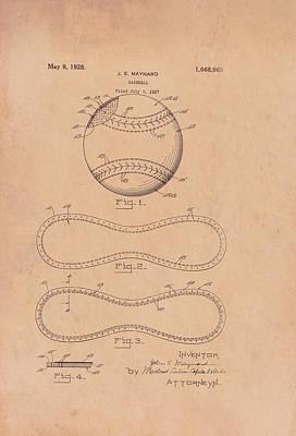 Baseball Drawing - Baseball Patent 1928 by Mountain Dreams