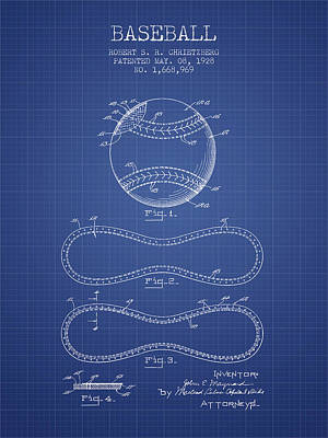 Baseball Patent From 1928 - Blueprint Print by Aged Pixel