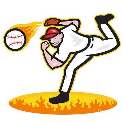 Baseball Pitcher Throwing Ball On Fire Print by Aloysius Patrimonio