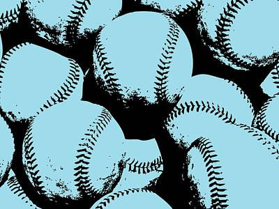 Sports Digital Art - Baseball Pop Art Blue by Flo Karp